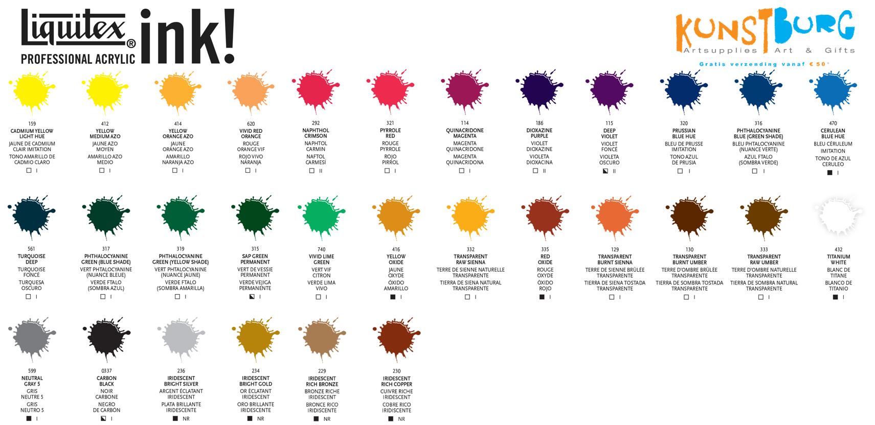 Liquitex Acrylic Ink Kleurenkaart
